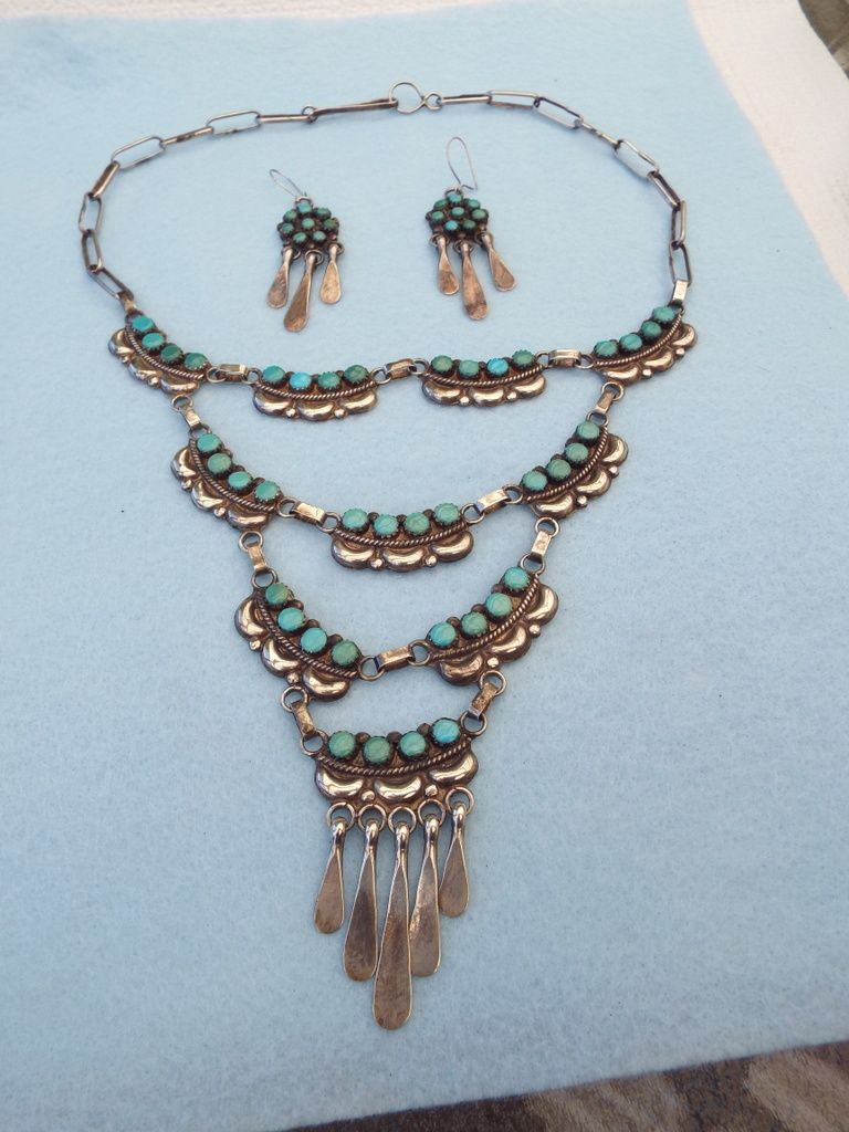 Fred And Elsie, Zuni NM Sterling & Turquoise Chandelier Or Festoon Necklace Set