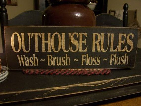 Outhouse Rules wash brush floss Country Bathroom Wood Wall Art Sign Bath Decor