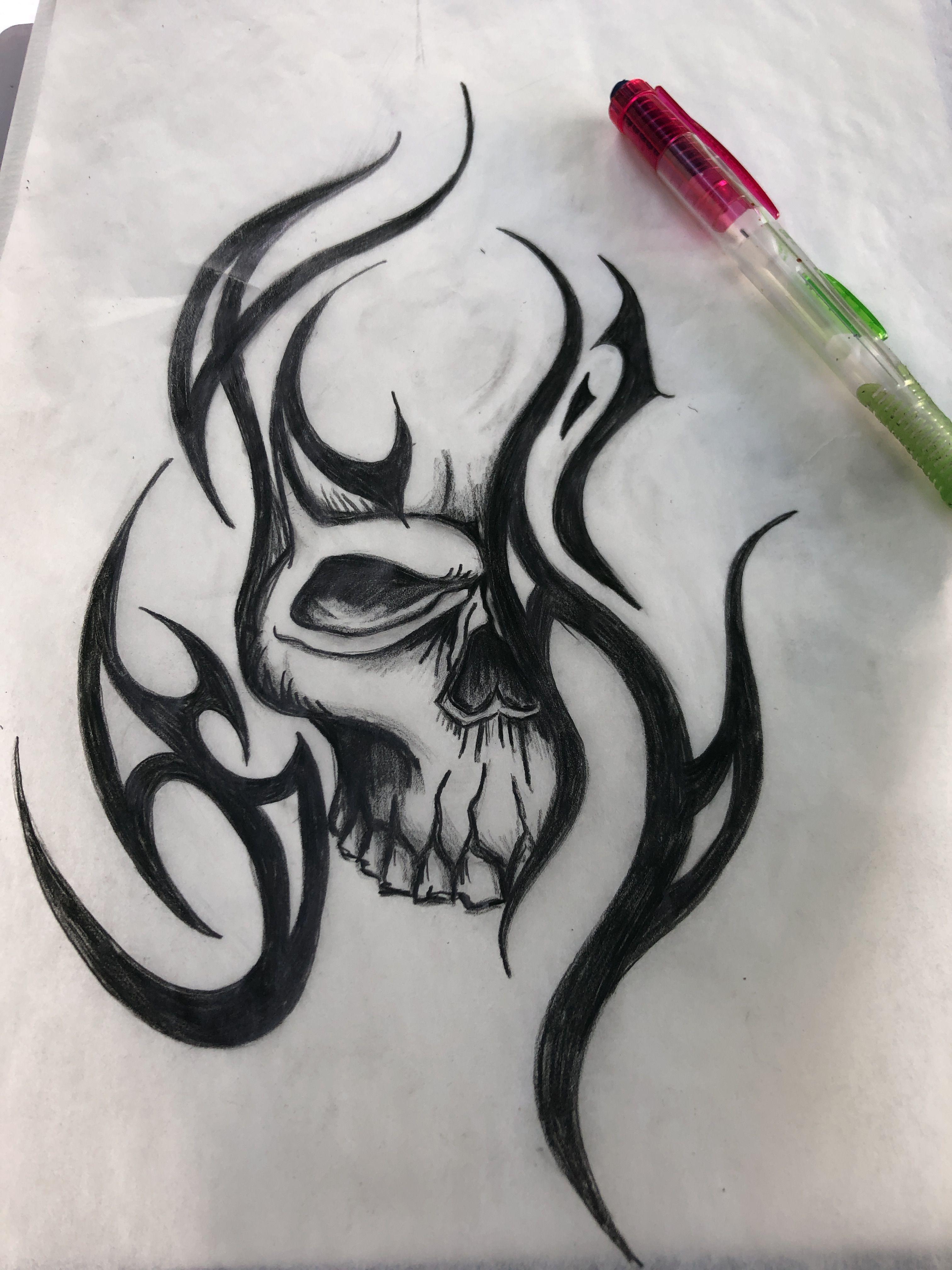 Pin By Terry Wilbur On Class In 2020 Tribal Tattoos Tribal Skull Skulls Drawing