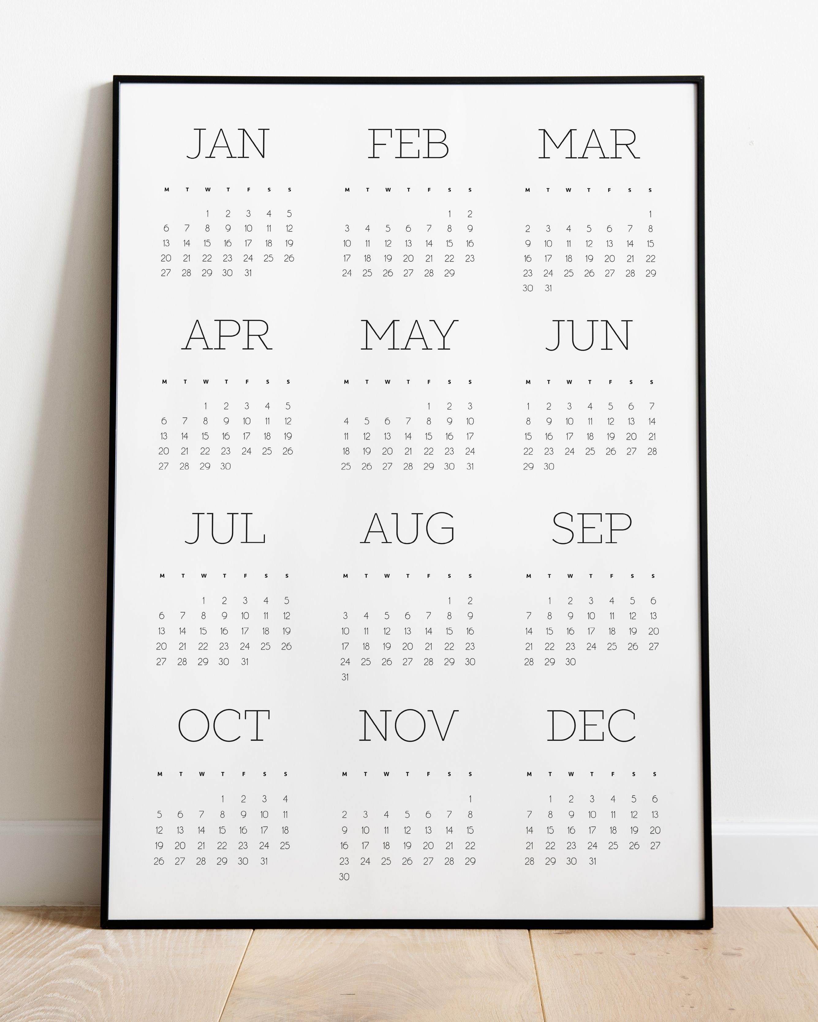2020 Minimalist Calendar New Years Gift Design Calendar 2020
