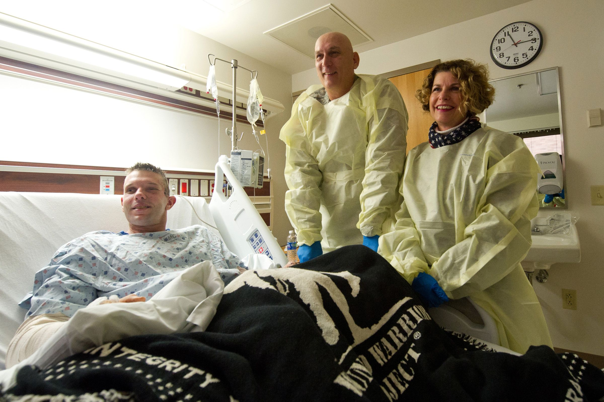 Me and my wife, Linda, share a laugh with Sgt. Brandon