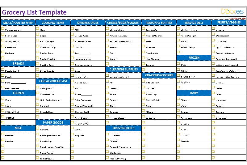 Grocery List Template Categorized  Charts  Checklists