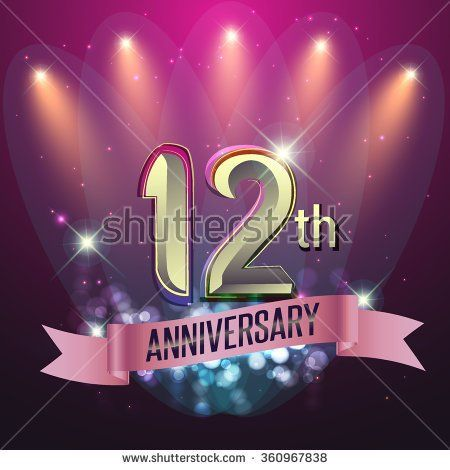 12th Anniversary, Party poster, banner or invitation - background glowing element. Vector Illustration. - stock vector