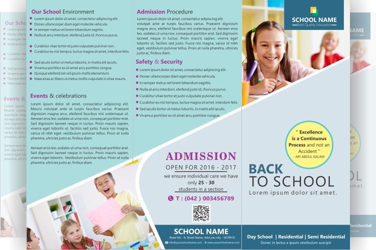 FREE tri-fold brochure for school File formats PSD, AI, CDR, PDF - school brochure template