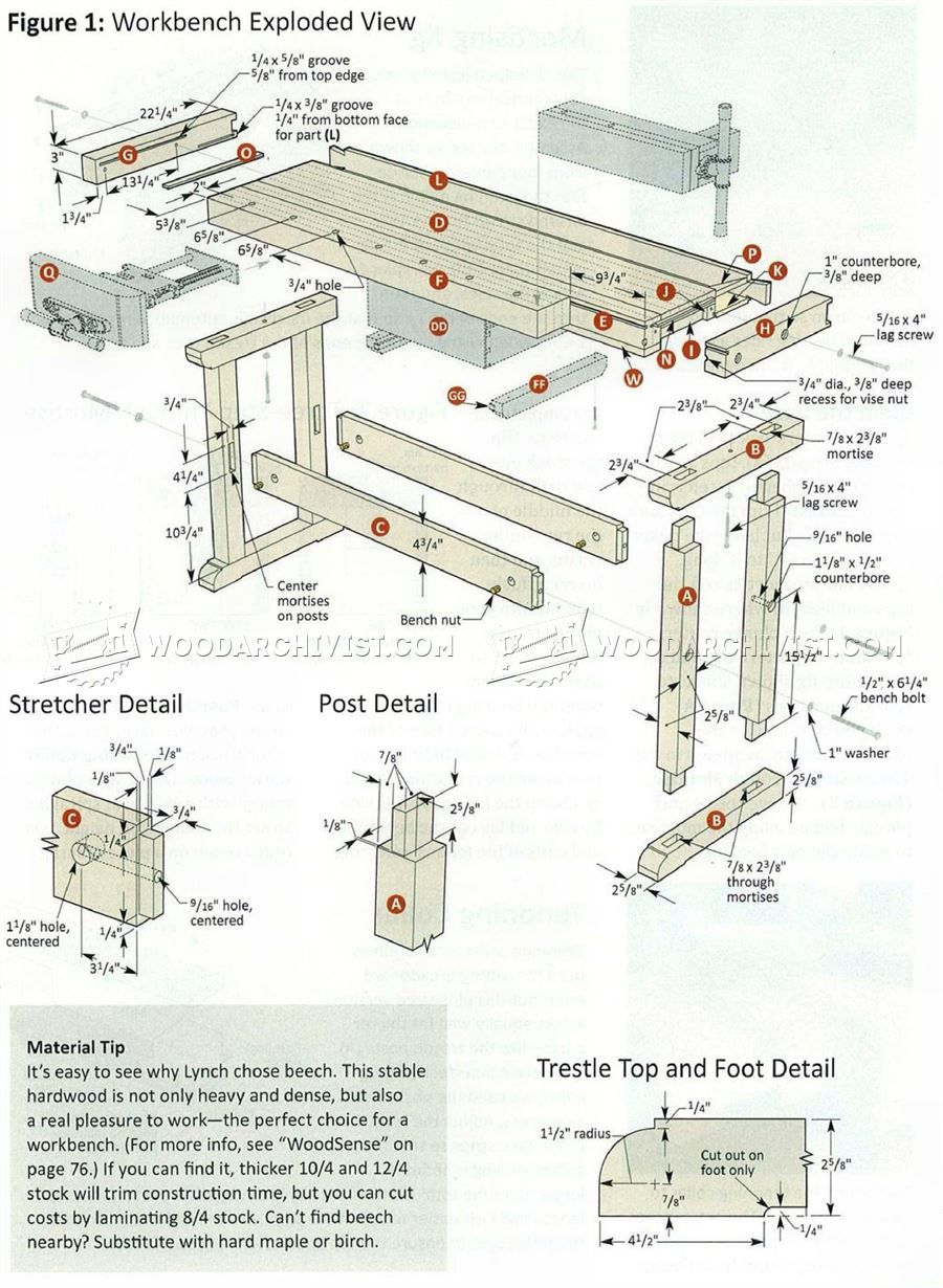 Plan D Etabli Bois 2747 classic workbench plans - workshop solutions | etabli