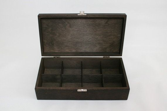 Wooden Tea Box Jewelry Box 8 Compartments Box Wooden Keepsake