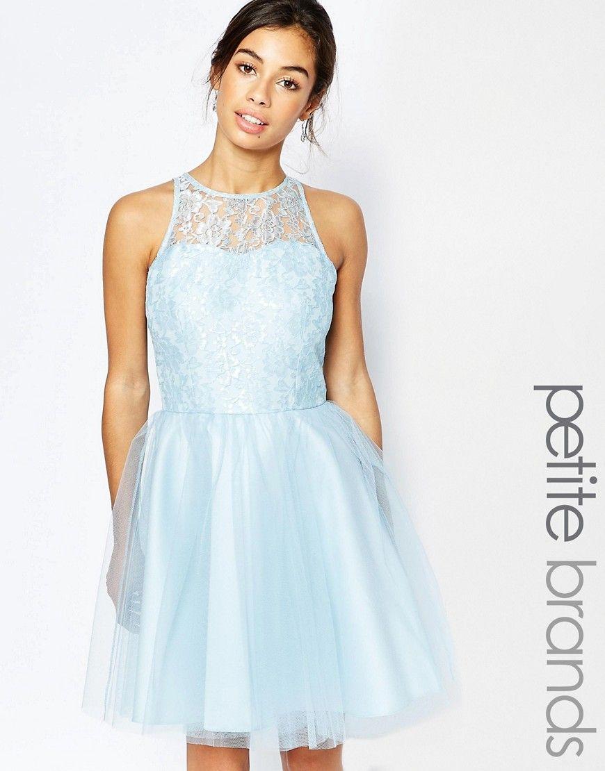 Fede John Zack Petite Lace Bodice Tulle Skirt Prom Dress - Blue John Zack Petite A Line Kjoler til Damer i dejlige materialer