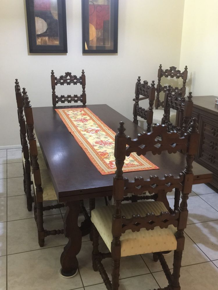 Spanish Style Dining Table Set Table With 8 Chairs Ebay Dining Table Dining Table Setting Table