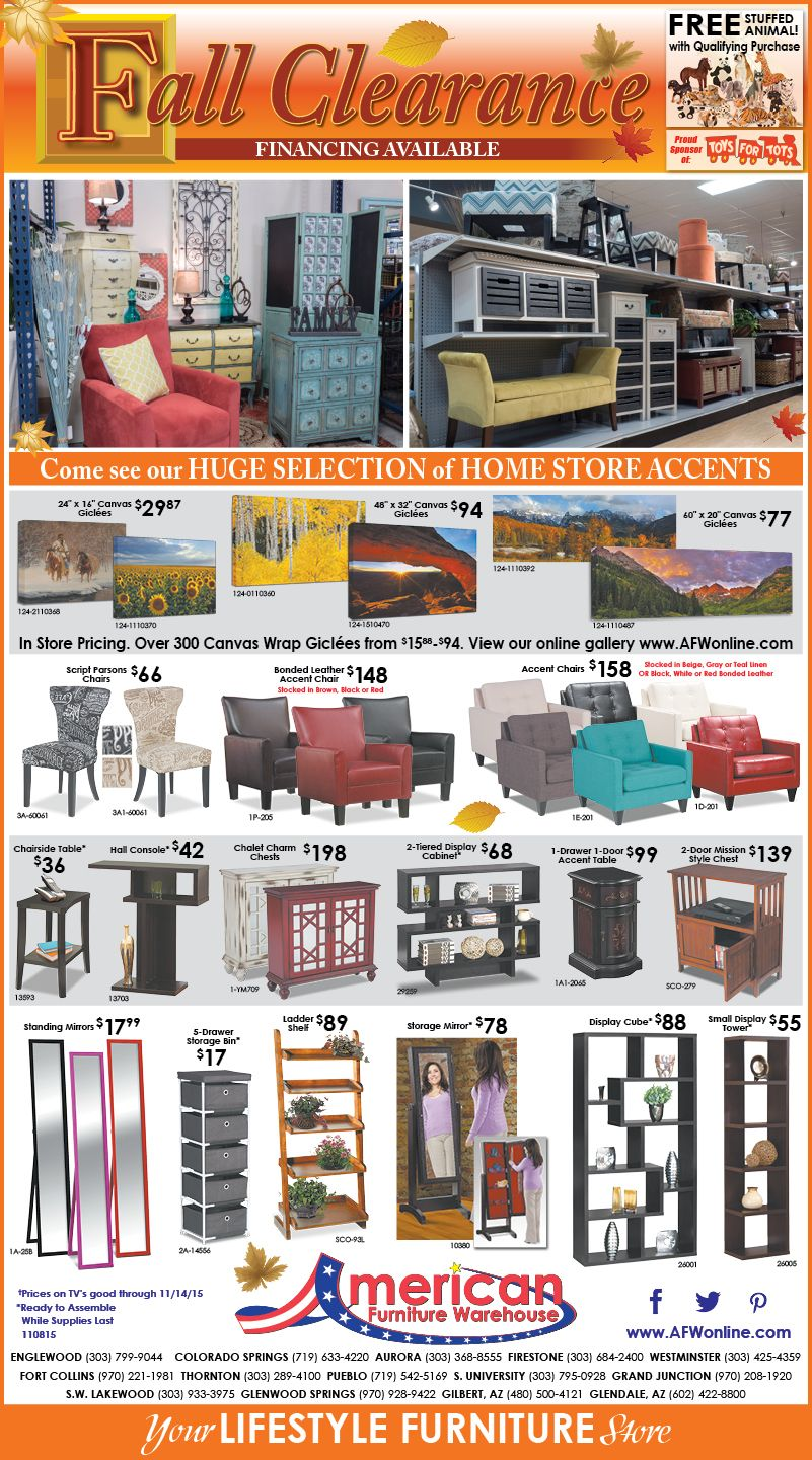 American Furniture Warehouse weekly ad circular, monthly specials, best deals & sales. Every American Furniture Warehouse store features the hottest discounts and sales on living room furniture, bedroom & mattresses, dining room furniture, office furniture, entertainment home theater, patio furniture, home decor, and more.