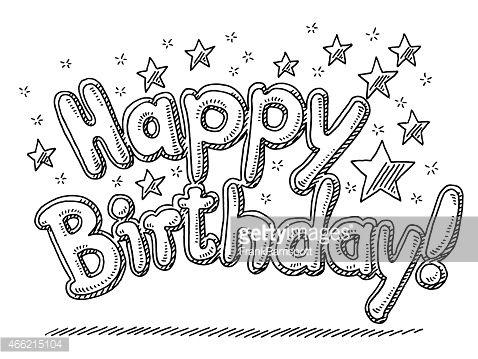 Vectorkunst Happy Birthday Celebration Text Stars