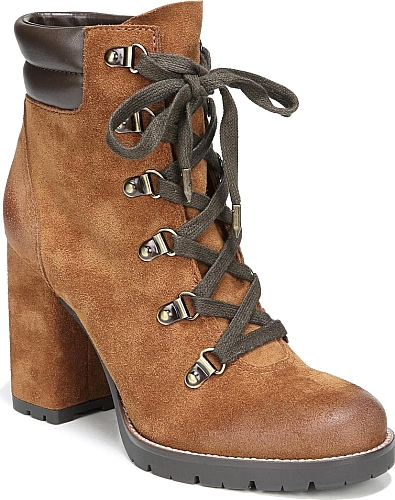 eb583e1f1 Sam Edelman Women s Shoes in Luggage Suede Color. A tall block heel lifts a  striking lace-up boot crafted from rich leather and finished with a  quilted