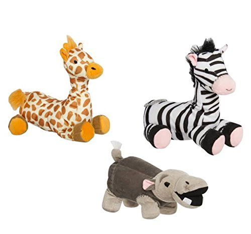 Silly Squeaks Animal Safari 3pc. Plush Pet Toy