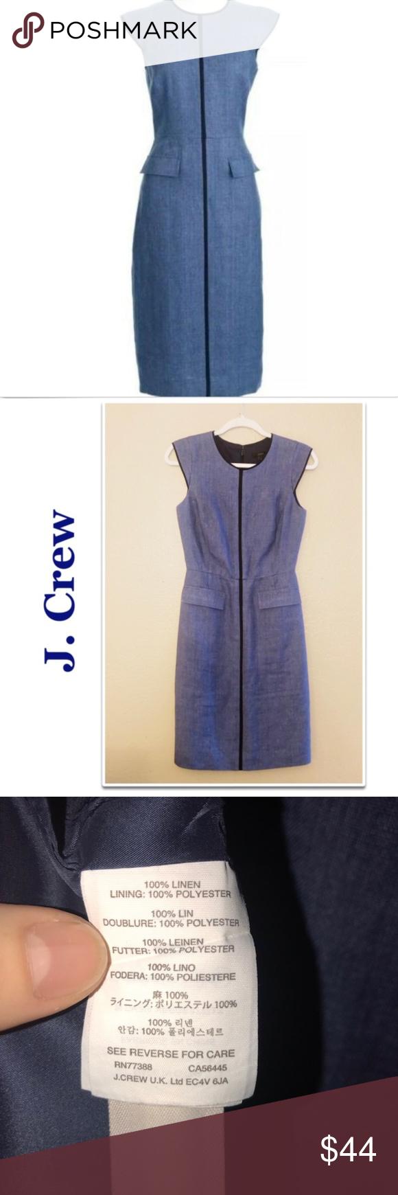 1d16a3a4ac J. Crew Blue Linen Patch-pocket Cap Sleeve Sheath Blue linen cap sleeve J