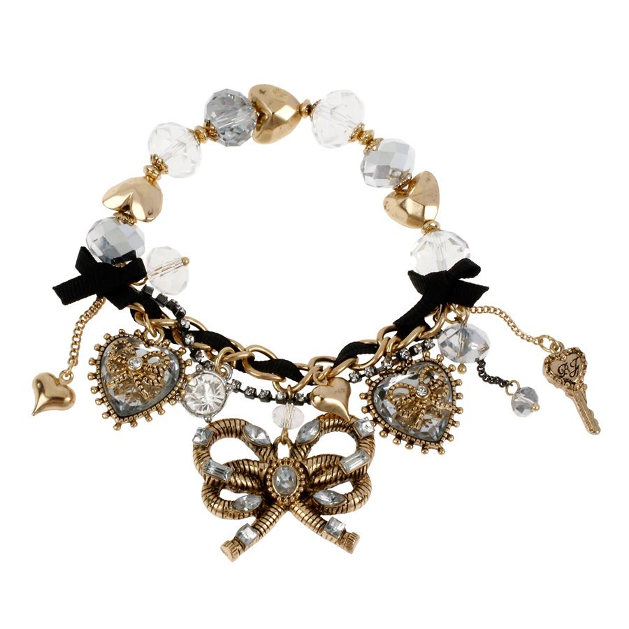 Betsey Johnson Heart of Gold Crystal Stretch Bracelet #VonMaur