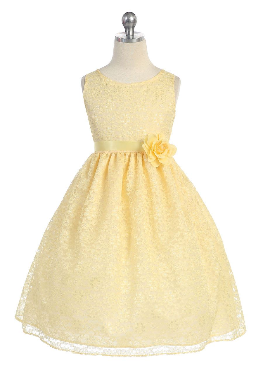Lace flower girl dress little princesses pinterest lace flower yellow lovely floral lace flower girl dress available in sizes in 13 colors holiday girl dresses girls mightylinksfo