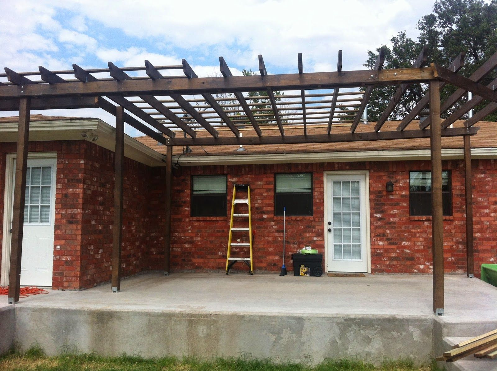OhAmy: Pergola Smergola... A partially finished back porch pergola! I have BIG plans for this thing!