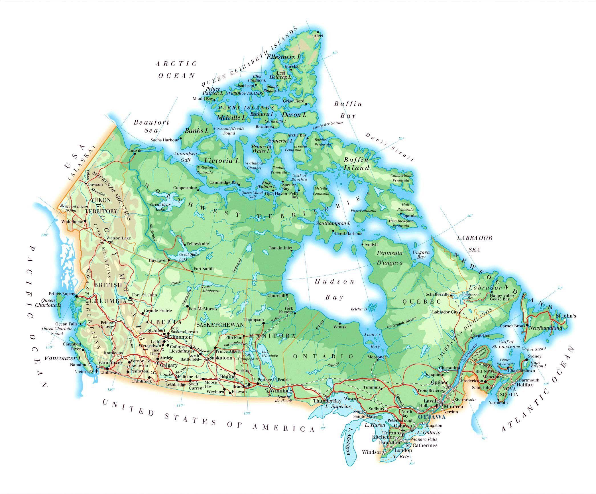 Carte Canada eevasioncom Les cartes de chaque pays pour