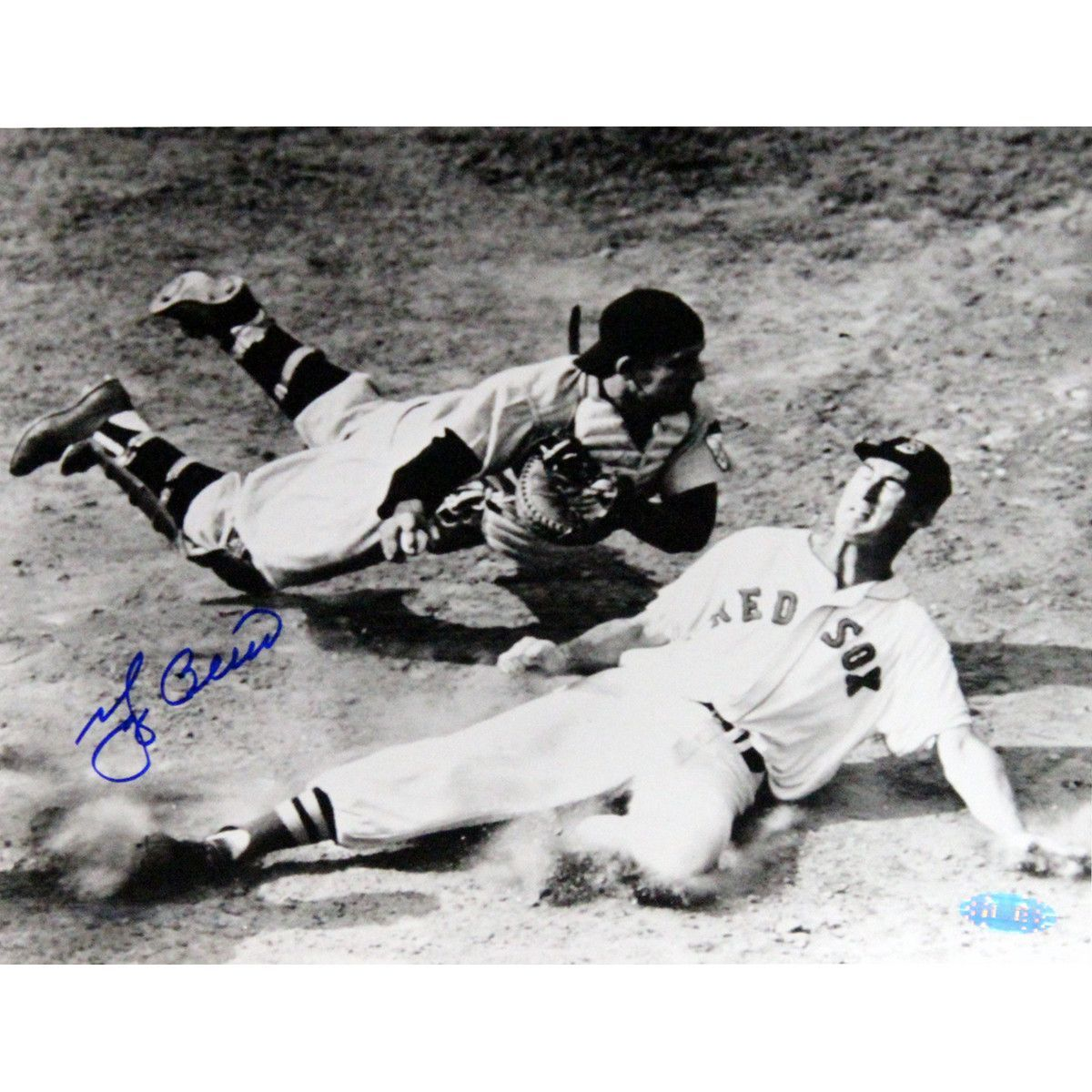 Yogi Berra Signed Tagging Ted Williams at Home Plate 8x10 Photo