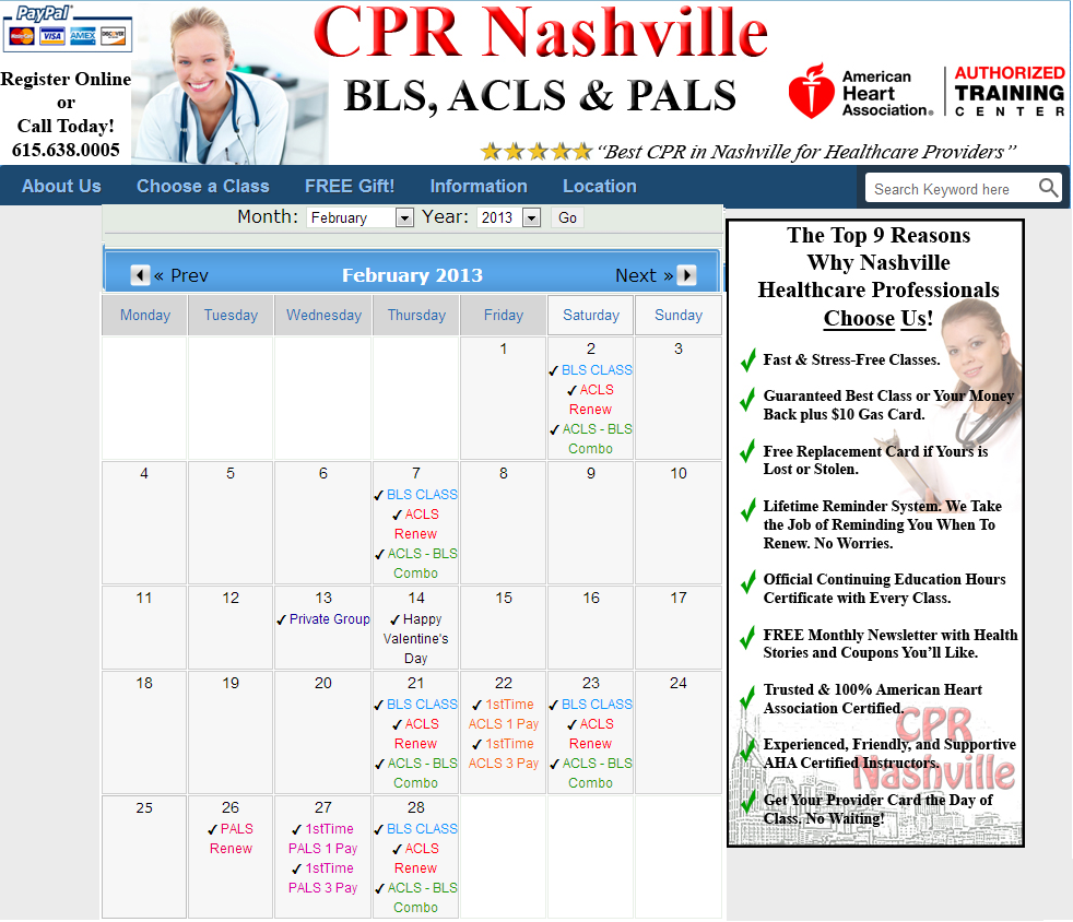 First Time Acls Certification Class Nashville February