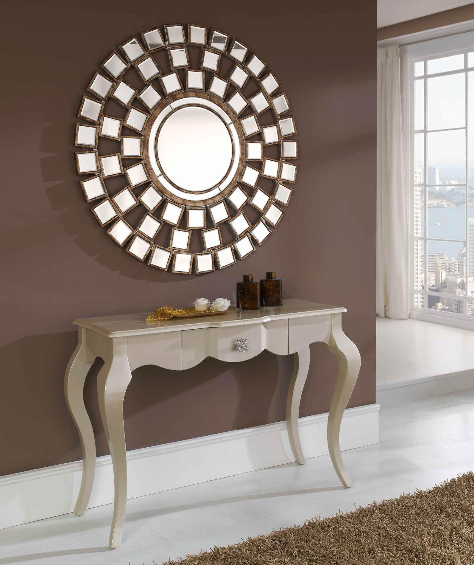espejo decorativo redondo formado de pequeos espejos biselados con marcos acabados en oro envejecido cm