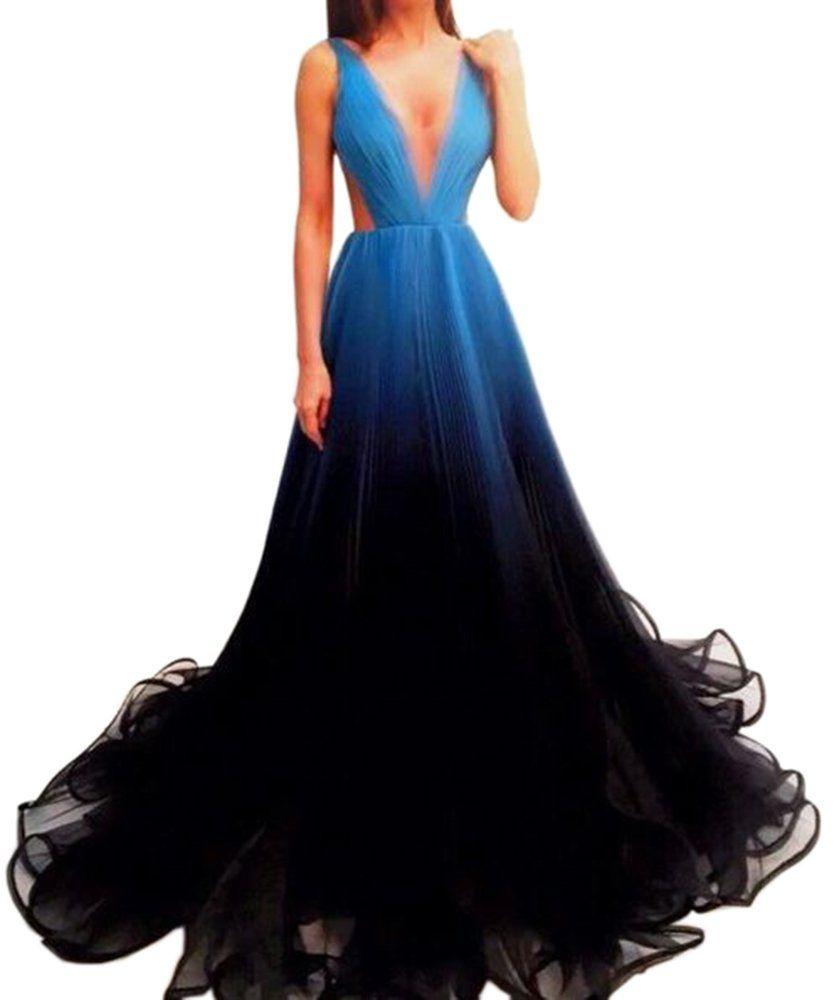 Dressylady unique gradient prom dress a line long formal evening