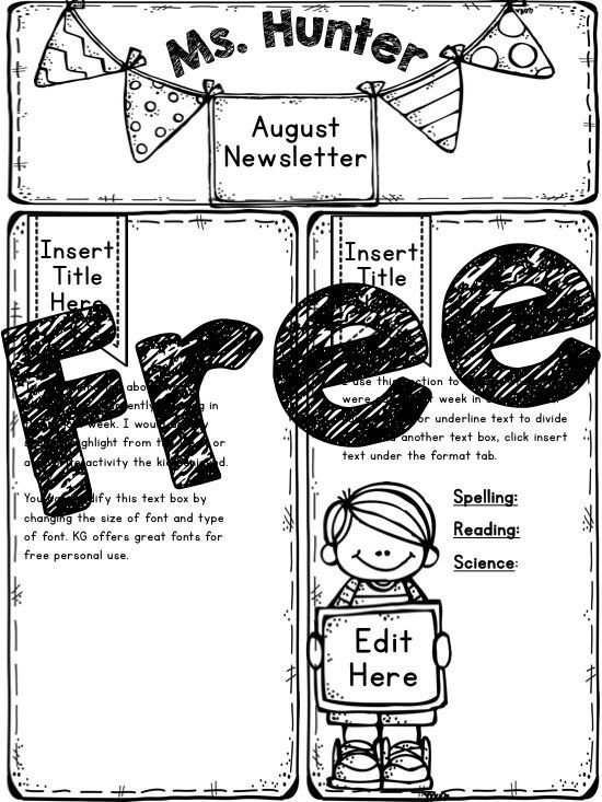 Free Newsletter Template! Comes with color and BW - newspaper templates for kids