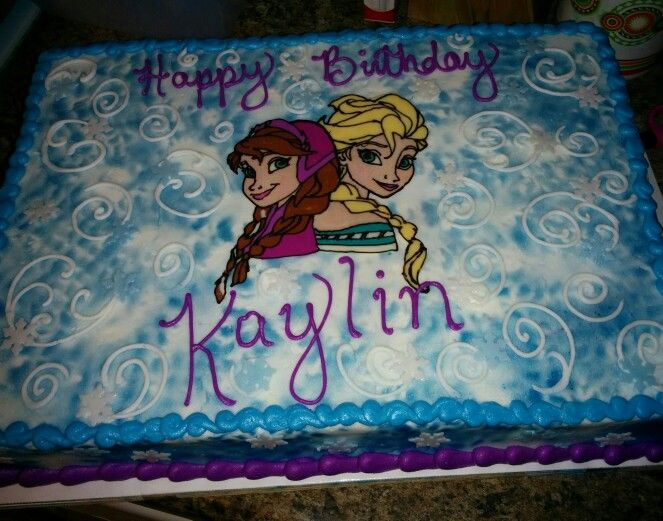 1 2 Sheet Chocolate Frozen Cake Elsa And Anna Are A Hand Piped