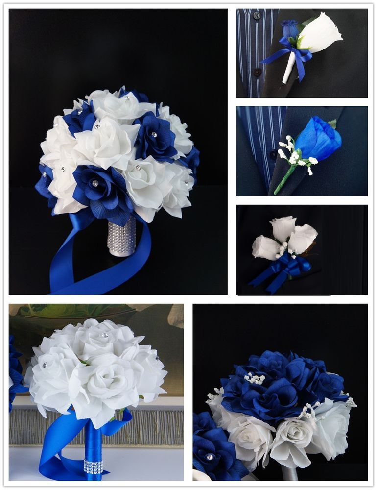 13pc Wedding Silk Flowers Royal Blue White Bouquet Corsage