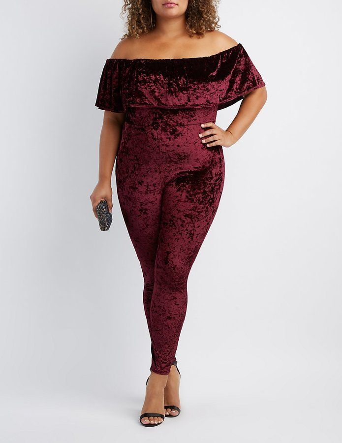Plus Size Velvet Off The Shoulder Jumpsuit Clothes Pinterest