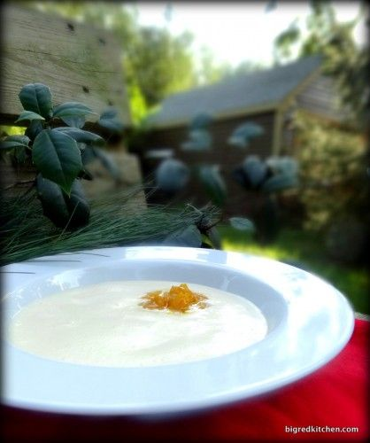 Eggnog Soup with Hot Buttered Rum Mango Compote
