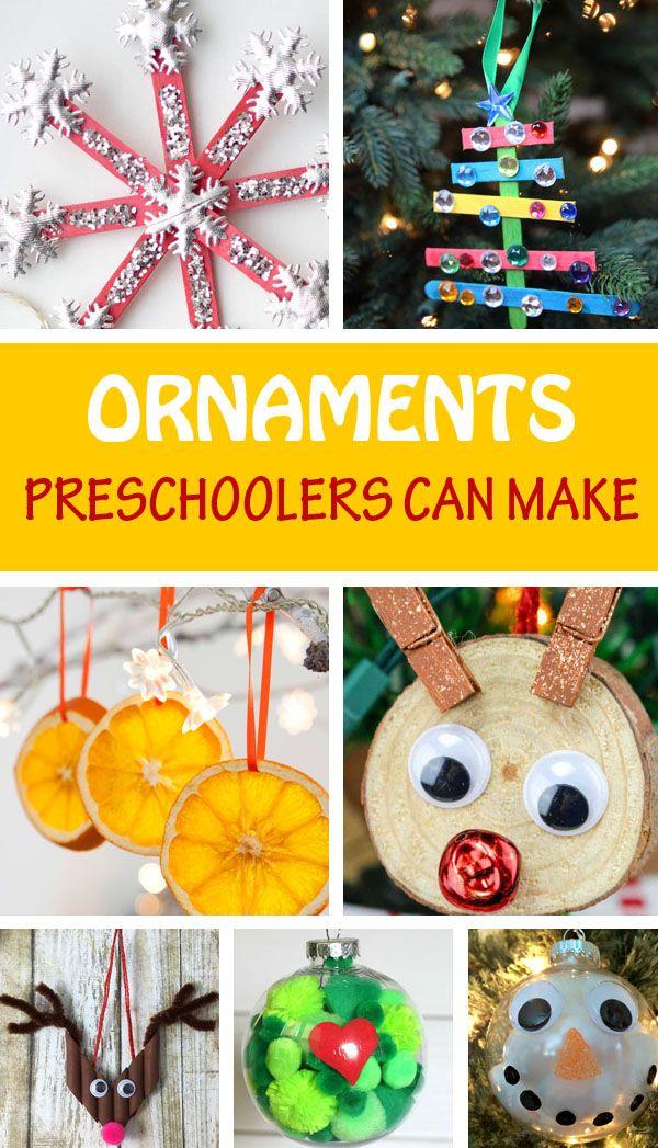90 Christmas Ornaments Kids Can Make Easy Kid Made Ornaments Kids Christmas Ornaments Preschool Christmas Ornaments Christmas Ornament Crafts