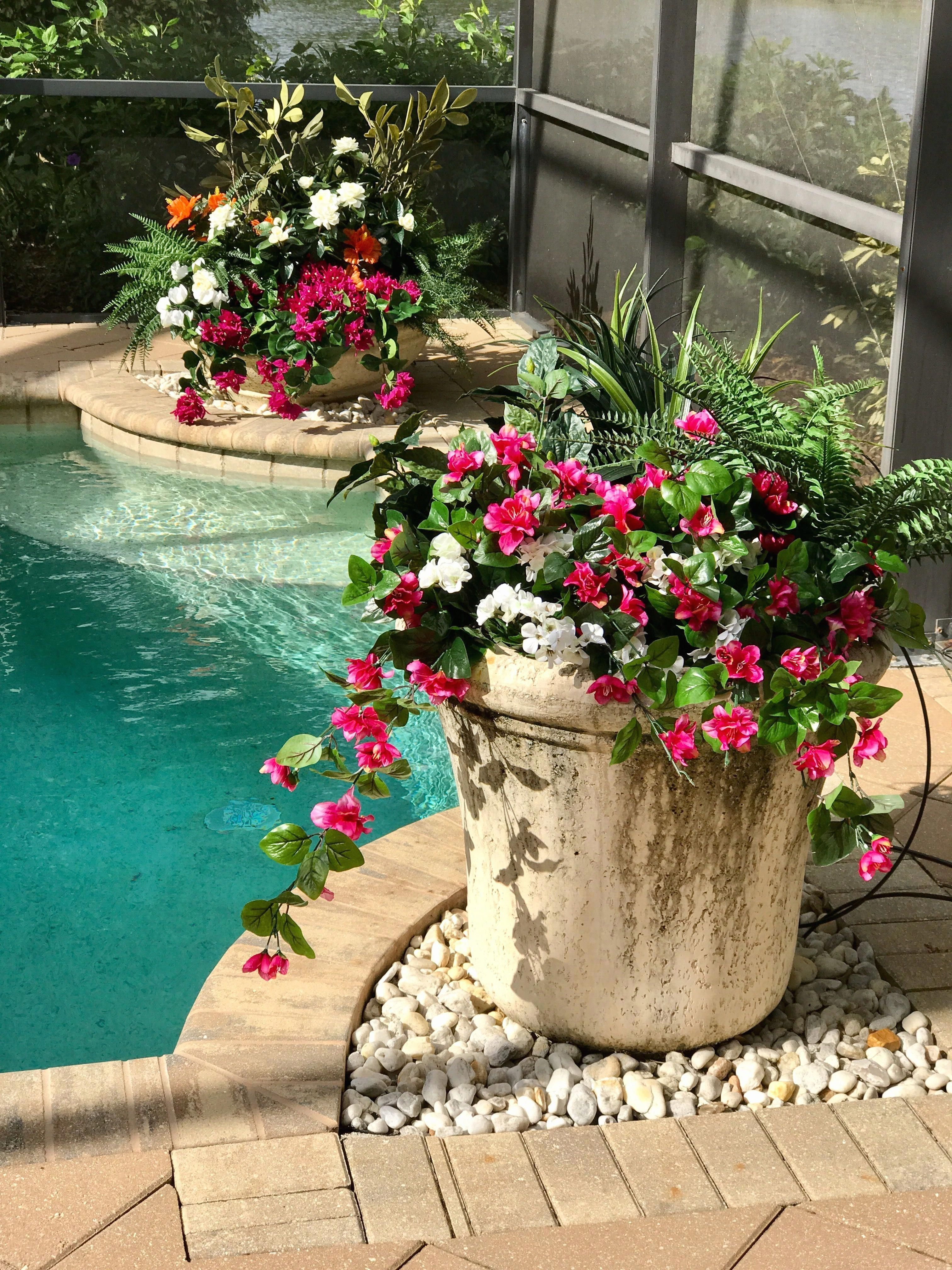 potted plants patio artificial flowers