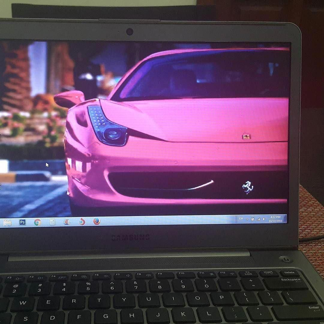 This is the wallpaper on my laptop. The car is a hot pink Ferrari and the first time I saw the picture I fell in love with the car.  I was never crazy about Ferraris until I saw this one and immediately I was like That's my car.   Even of I never get a hot pink Ferrari whenever I look at this picture it makes me smile and motivates me.  I guess you could say I'm using my laptop wallpaper like a mini vision board and with great reason.  Vision boards work #Lamborghini #pinkferrari This is the w #pinkferrari