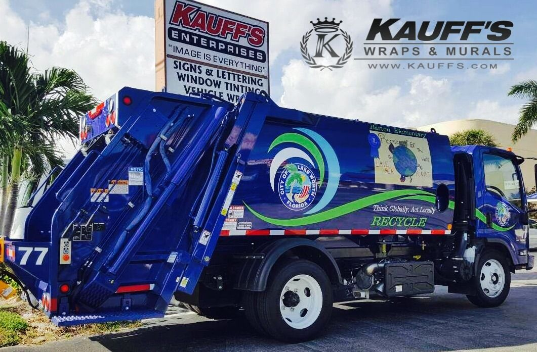 Recycling truck graphics for the City of Lake Worth. Love