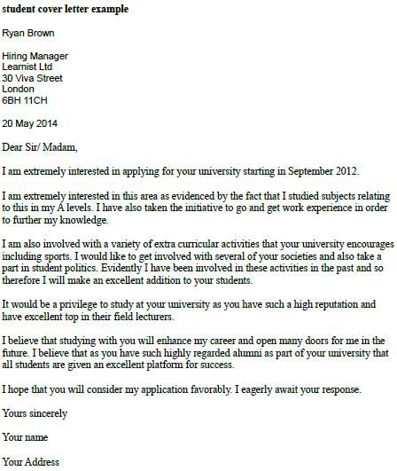Student Cover Letter Example Resumes And Cover Letters Resume