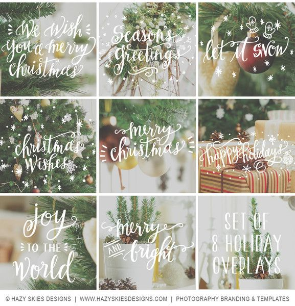 Holiday Photo Overlays Calligraphy Doodles Card templates, Photo