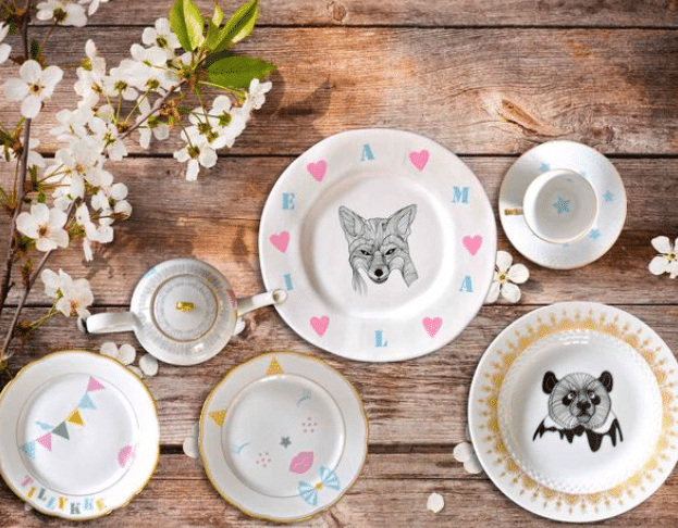 MUD upcycled porcelain design is a collection of upcycled porcelain plates with creative images and illustrations transferred to the surface.