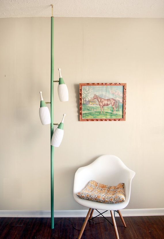 reserved for katbut vintage mid century tension pole lamp in seafoam green - Pole Lamps
