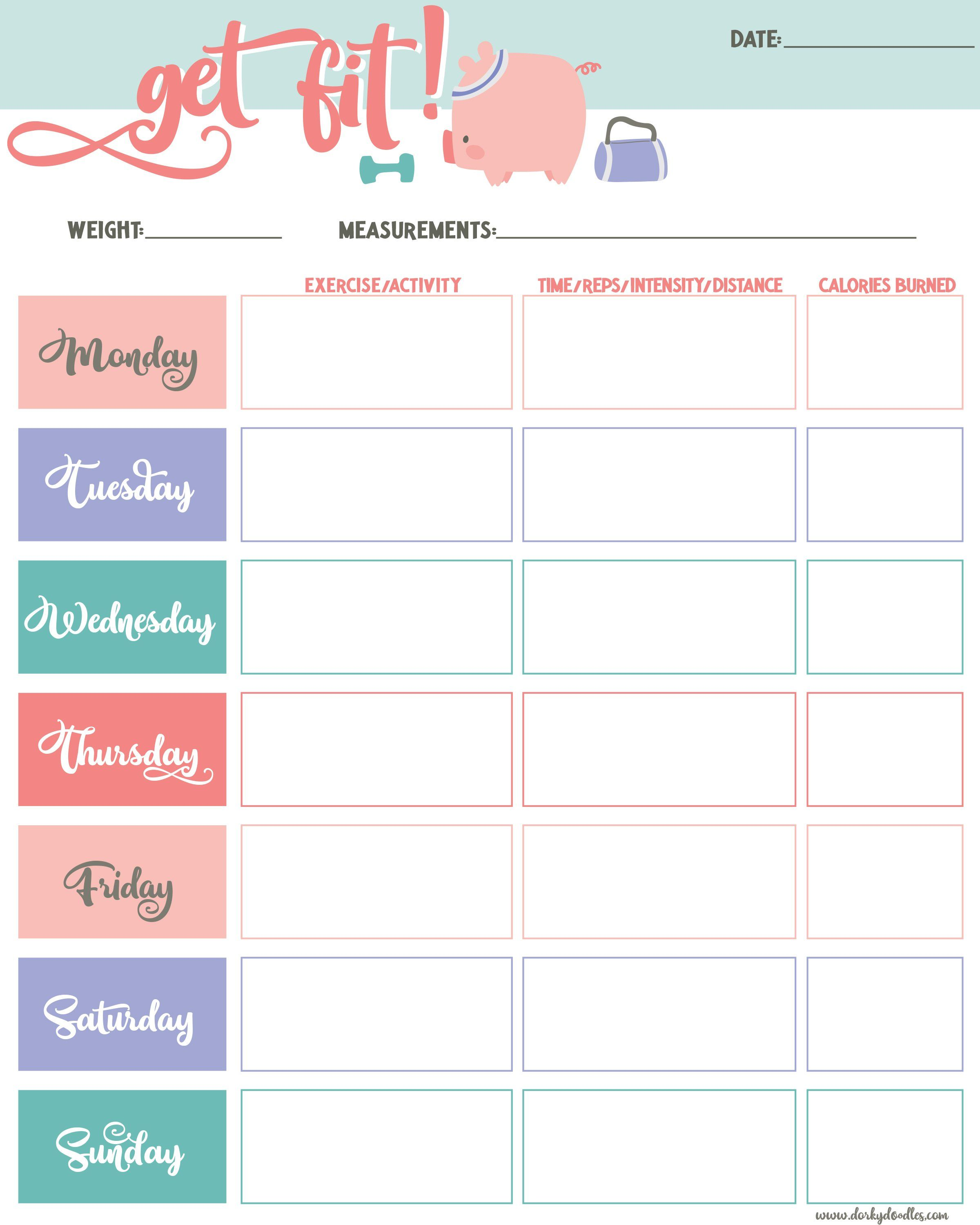 Get Fit Printable Exercise Tracker