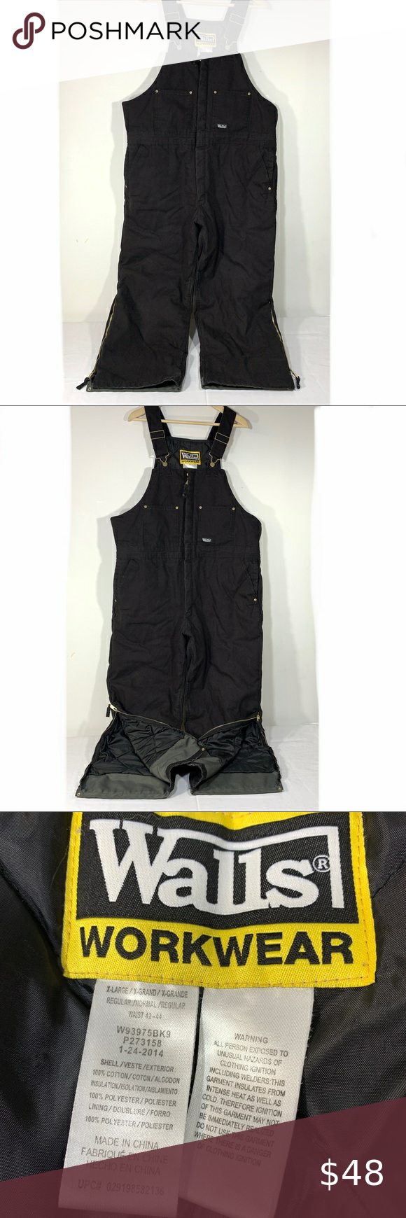walls workwear insulated bib overalls xl reg 42 44 in 2020 on walls coveralls for men insulated id=49314