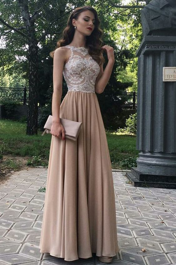 A-Line Beaded Lace Chiffon Long Prom Dresses Formal Evening Dresses