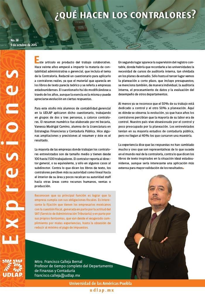 Por Mtro. Francisco Calleja Profesor de tiempo completo