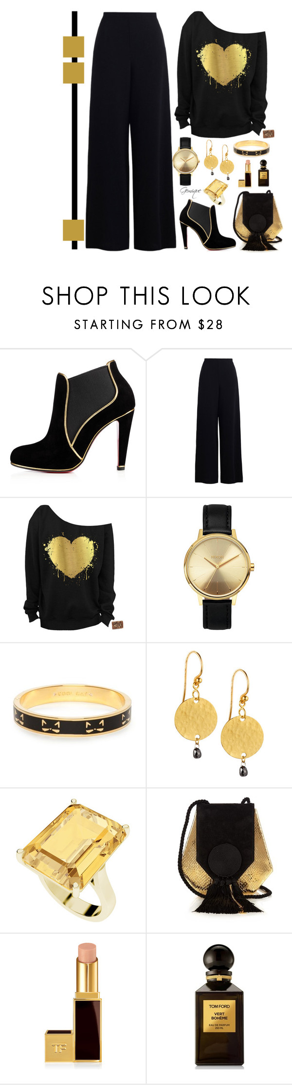 """Golden Girl"" by gemique ❤ liked on Polyvore featuring Zimmermann, Nixon, Kate Spade, Gurhan, StyleRocks, Yves Saint Laurent and Tom Ford"