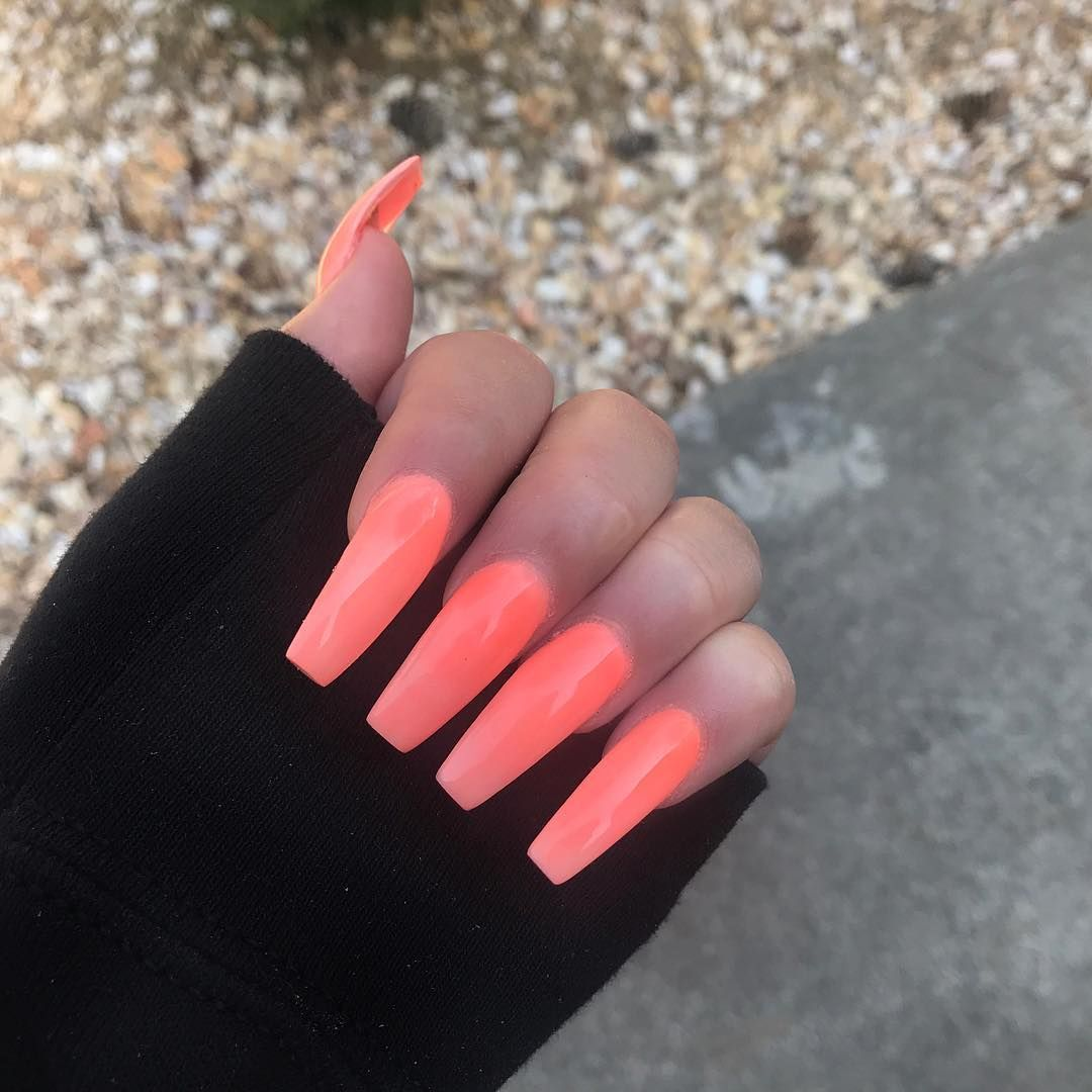 neon pink acrylic coffin nails- long af!   Makeup/Fashion/Nails ...