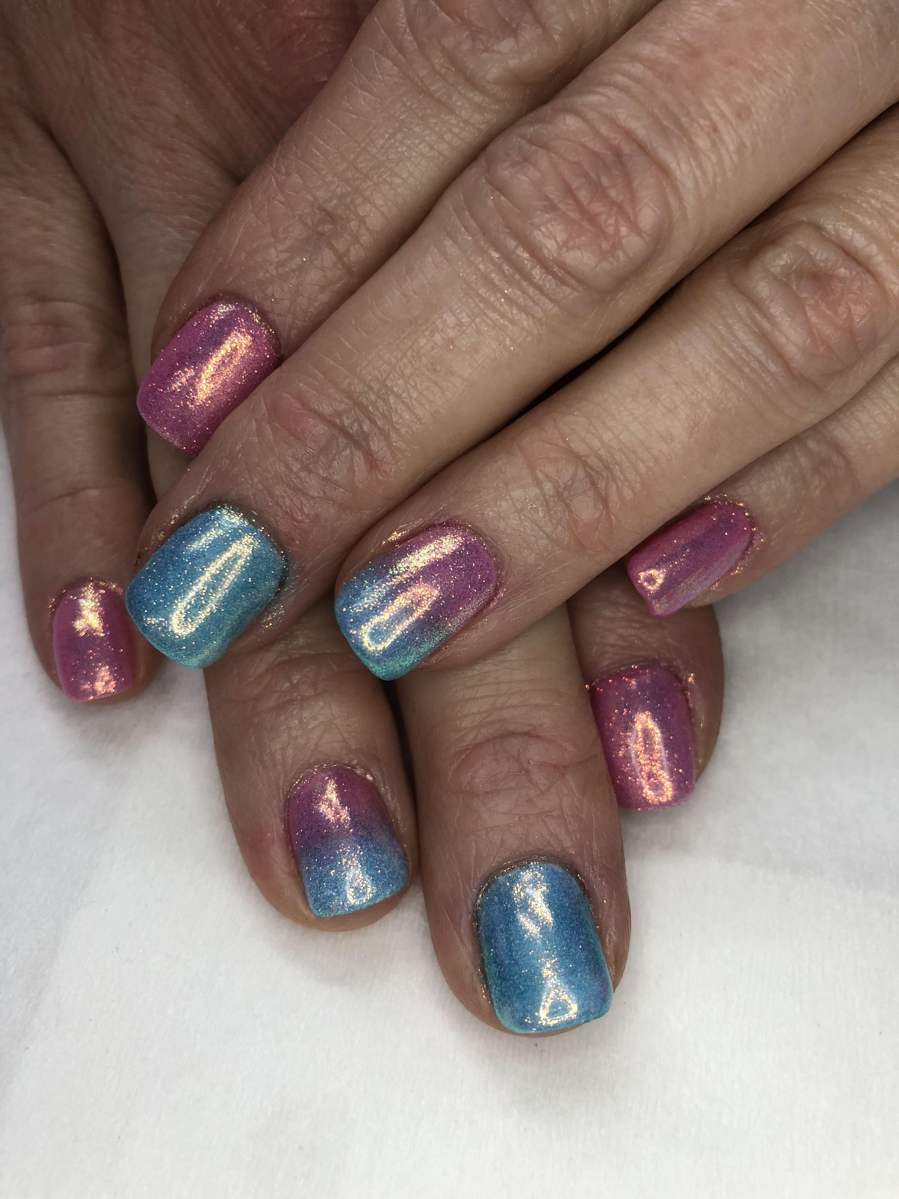 Indigo Pink Blue Ombr Mermaid Powder Gel Nails Gel Nail Designs