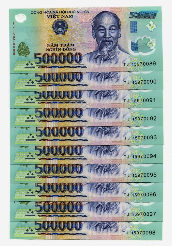 1x 500,000 500,000 VIETNAM DONG BANK NOTE MILLION VIETNAMESE UNCIRCULATED