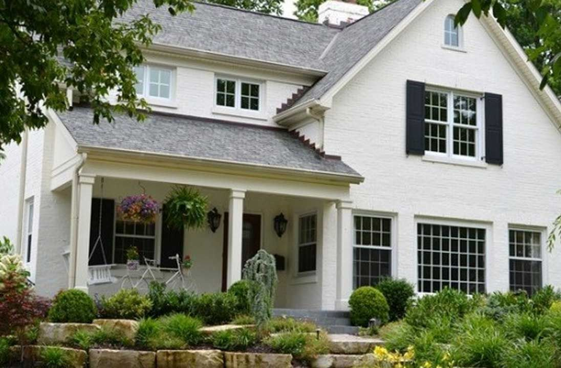 Home Exterior Design How To Paint A Brick House With Warm White Color And Windows Frame Also Gray Roof Tile Interior