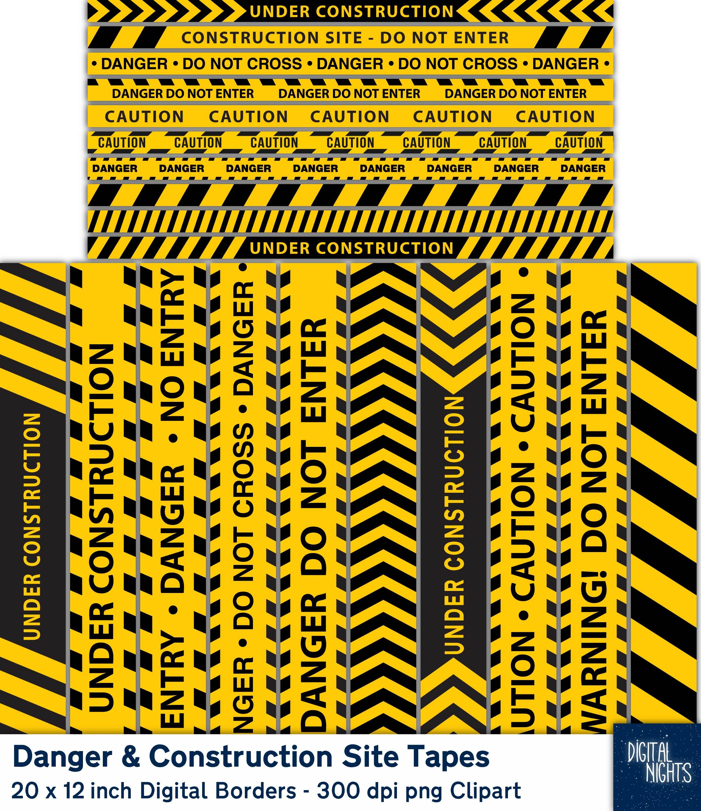Construction And Danger Tapes Digital Borders 12 Clipart Borders Digital Collage Png Instant Download Digital Borders Digital Collage Clip Art Borders