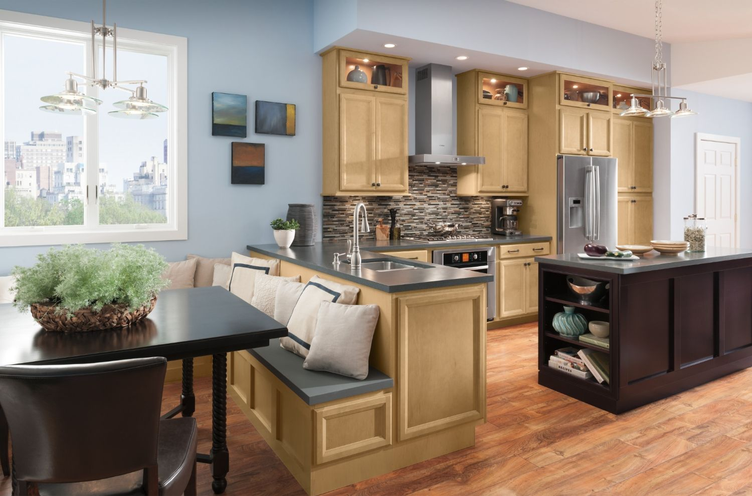 Shenandoah Maple kitchen Blue kitchen
