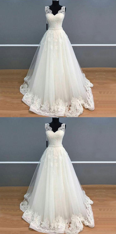 Elegant a line v neck long white lace tulle weddingprom dress
